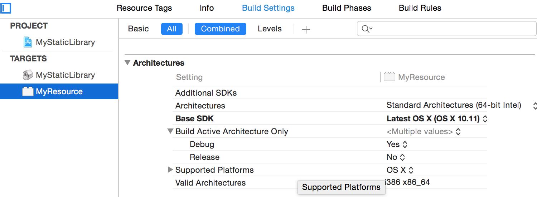 默认使用Max OS X的SDK编译