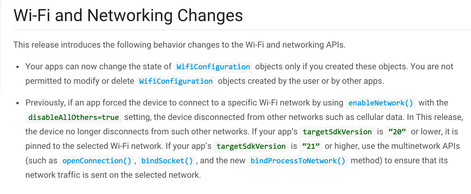 wifi change in M