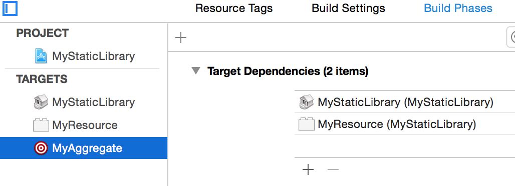 target dependencies
